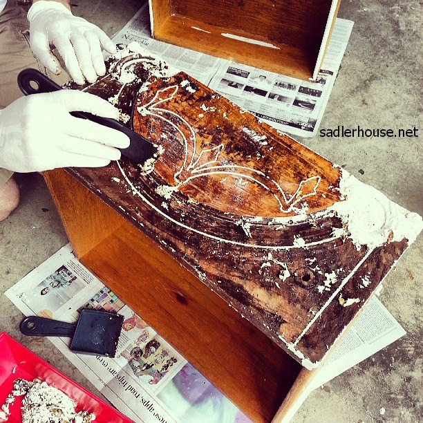 stripping a drawer on depression era buffet