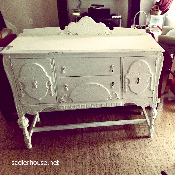 painted white depression era buffet