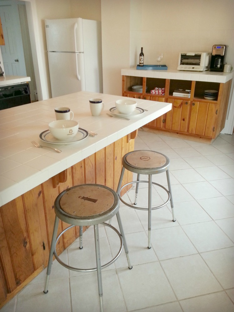 industrial stools at the kitchen counter