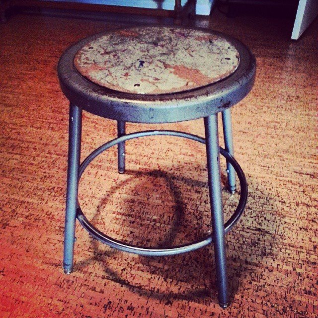 Industrial stool before