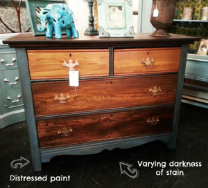 painted and stained dresser