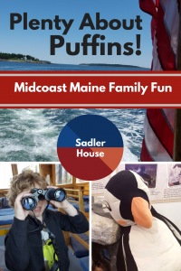 Everyone wants ideas for great family activities on vacation. Pairing the Project Puffin Visitor Center in Rockland, Maine with a Monhegan Boat Line Nature Cruise to see the puffin colony is a fantastic family activity. #Maine #Travel #Summer #Kids #BucketList #newengland #puffins