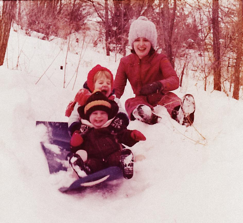 Tobogganing in Minnesota - 1975