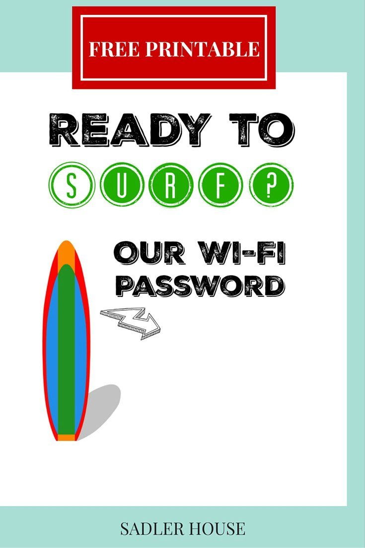 Free Coastal WiFi Password Sign